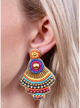 Caroline Hill Brooklyn seed bead embellished post earring