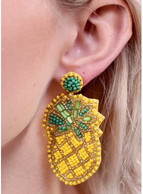 Caroline Hill Pineapple seed bead post earring