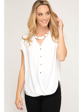 She + Sky Drop shoulder hi - low woven button down top with twisted front detail