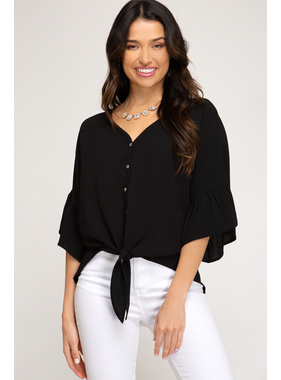 She + Sky 3/4 flounce sleeve button down woven top with front tie detail