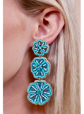 Caroline Hill Kauai triple flower seed bead post earring