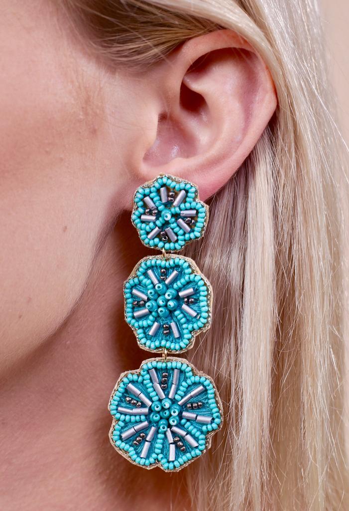 Caroline Hill Kauai triple flower seed bead post earring