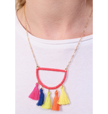 Caroline Hill Let's rave thread wrapped semi circle necklace with tassels