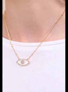 Caroline Hill Arabella short embellished enamel evil eye necklace