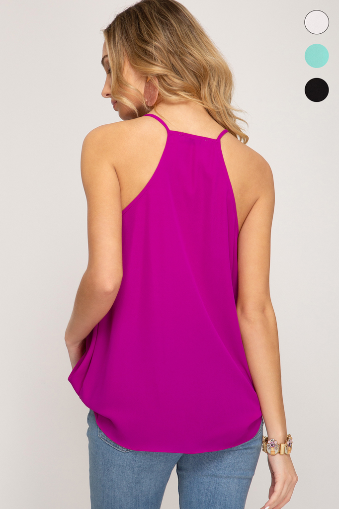 She + Sky Woven surplice cami top with ruffle detail