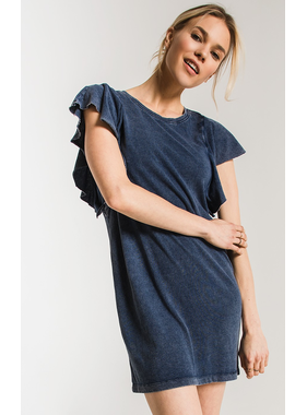 40513c7d5 Z Supply The jersey denim ruffle sleeve dress