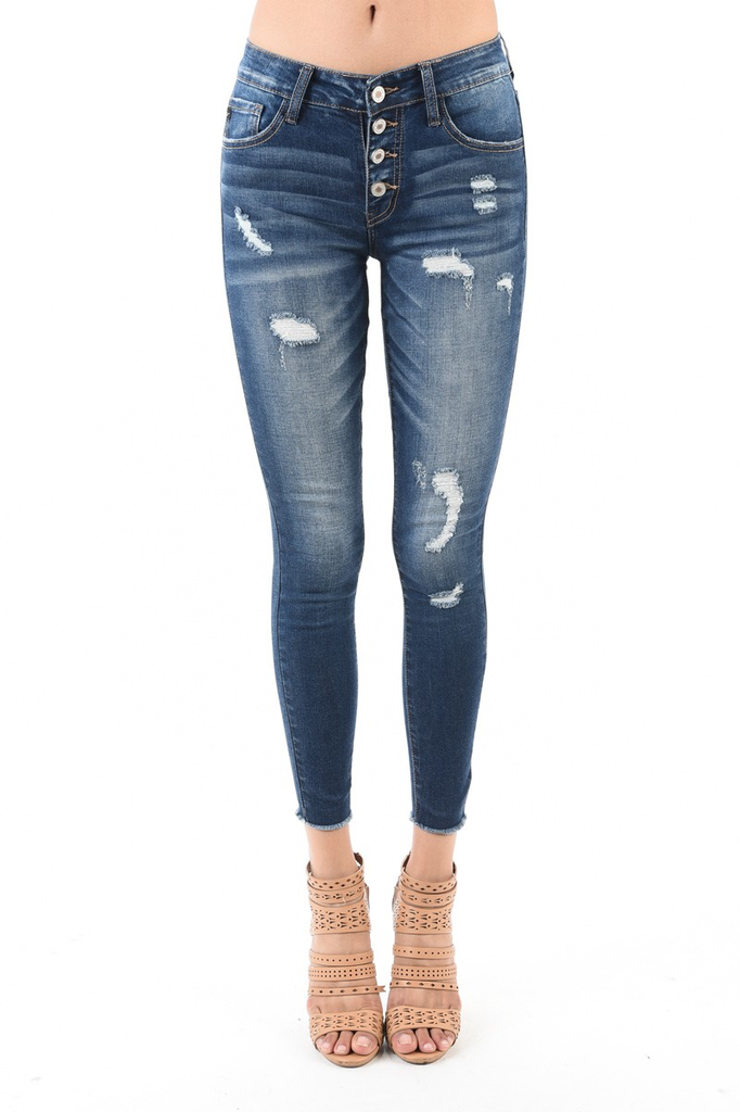 KanCan Gemma exposed button ankle skinny