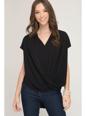 She + Sky Drop shoulder surplice top