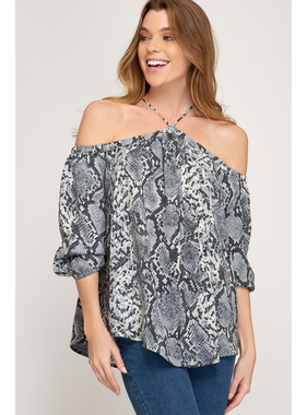 She + Sky 3/4 sleeve snake printed off shoulder top with neck strap detail