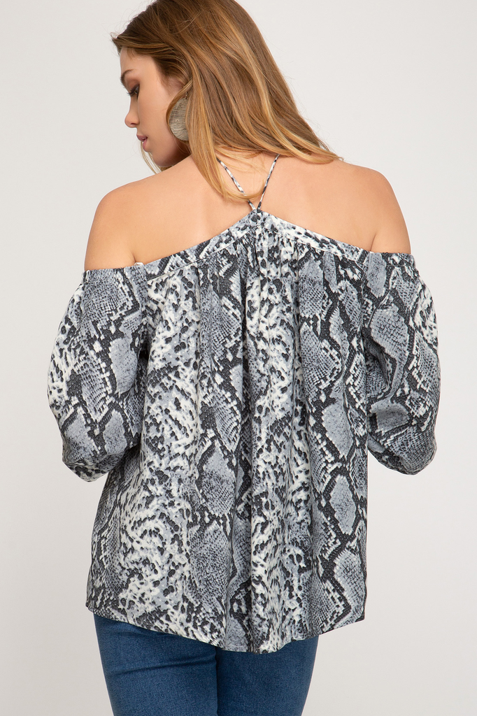 She + Sky 3/4 sleeve snake printed off shoulder top with neck strap detail