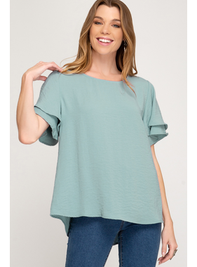 She + Sky Half double flutter sleeve textured woven top