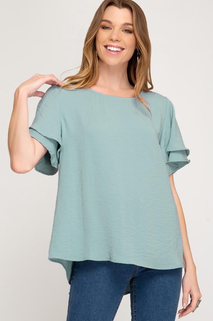 She + Sky Half double flutter sleeve textured woven top