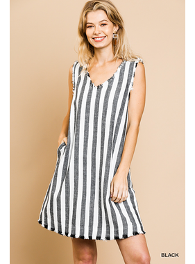 Umgee Linen blend striped sleeveless v neck shift dress