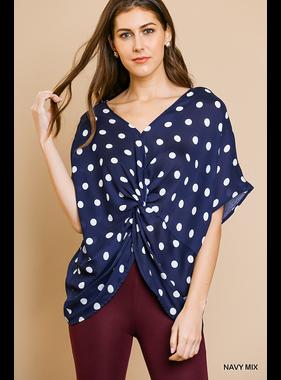 Umgee Polka dot print short dolman sleeve v neckline top