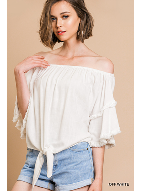 Umgee Layered ruffle sleeve off shoulder top