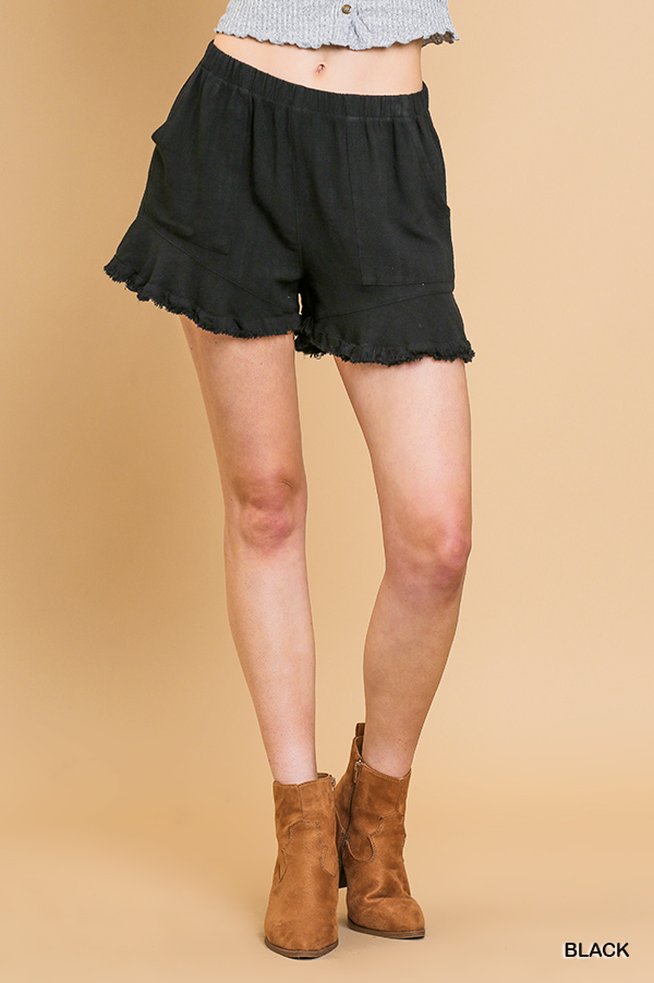 Umgee Ruffle trim shorts with elastic waist and pockets