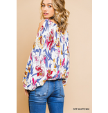 Umgee Floral print long puff open shoulder v neck top