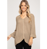 She + Sky 3/4 cuff sleeve hi-low v neck sweater