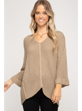 She + Sky 3/4 cuff sleeve hi-low v neck sweater
