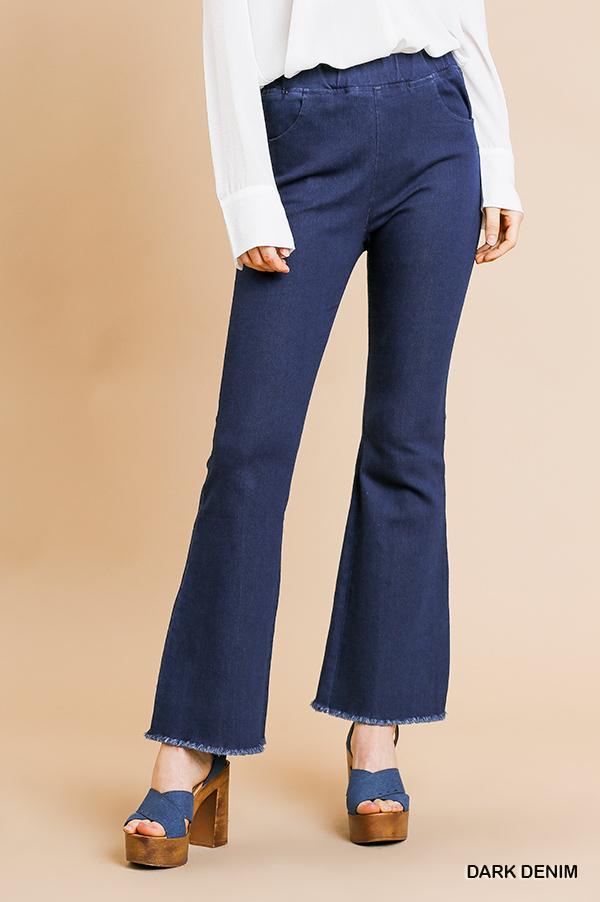Umgee High waist stretch denim flare pants