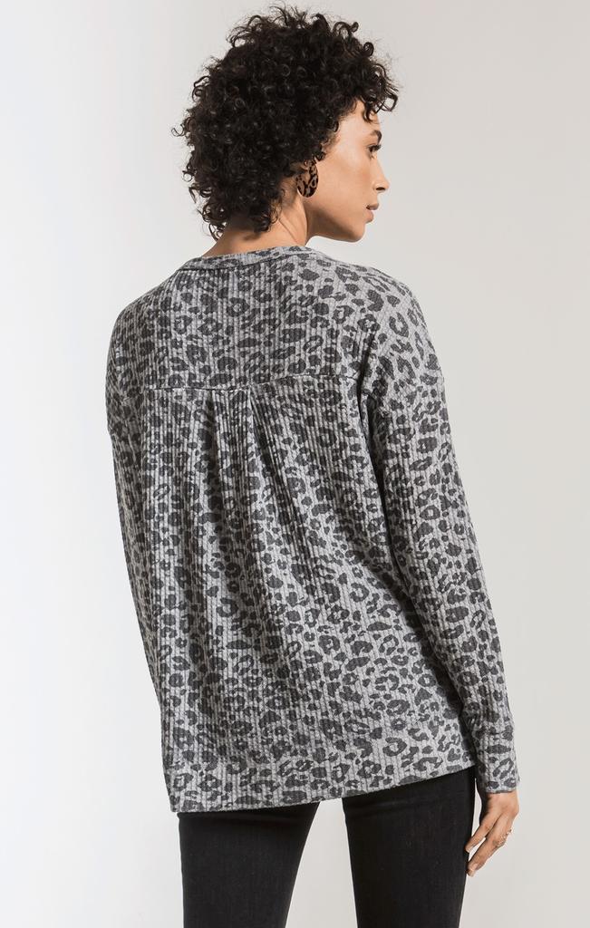 Z Supply Leopard thermal split neck top