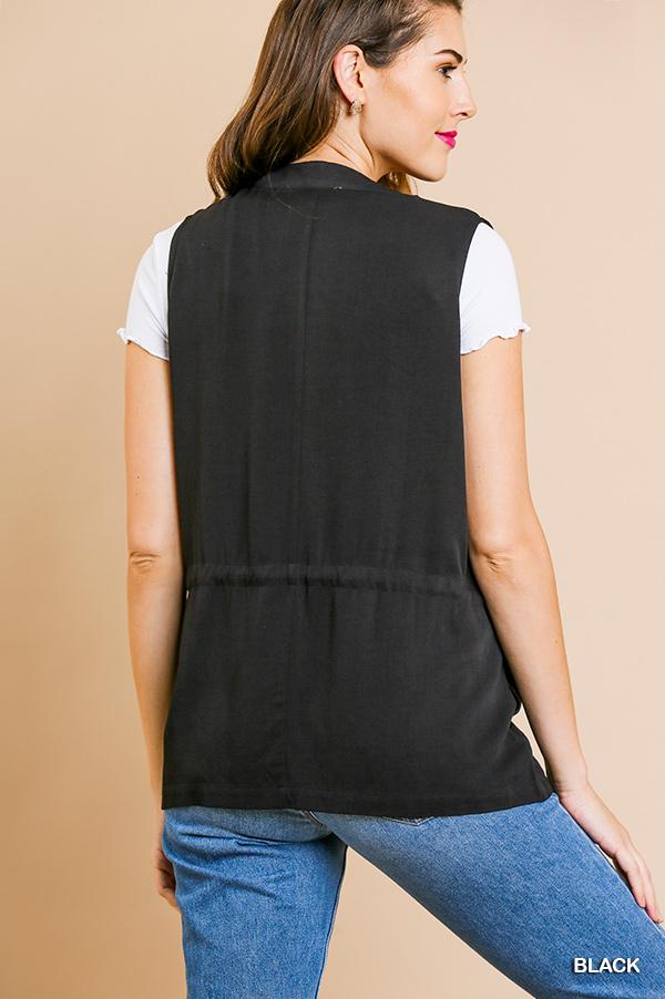 Umgee Open front vest with waist tie