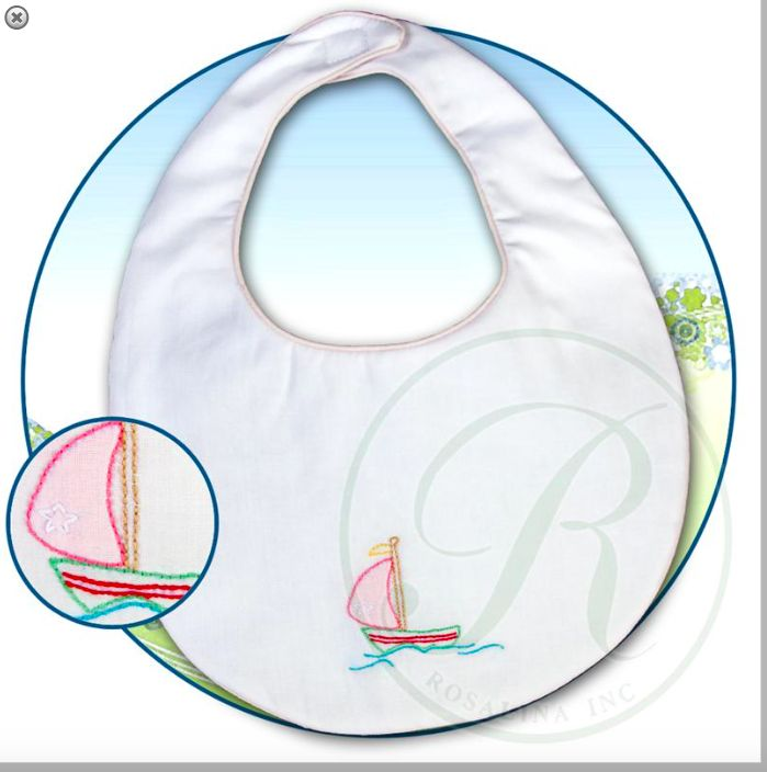 Rosalina Sailboat Shadow Embroidered Lt. Pink Trim Bib