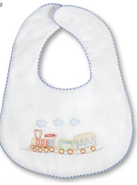 Rosalina Train Shadow Embroidered w/Blue Gingham Trim Bib