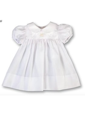 Rosalina Bianca Rose Bullion White Baby Dress