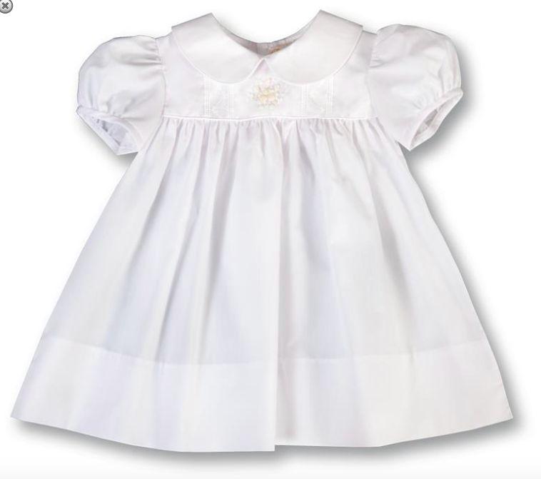 Rosalina Bianca Rose Bullion White Baby Dress