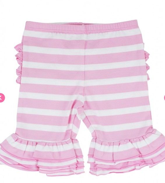 Ruffle Butts Pink Stripe Ruffle Bermuda Shorts