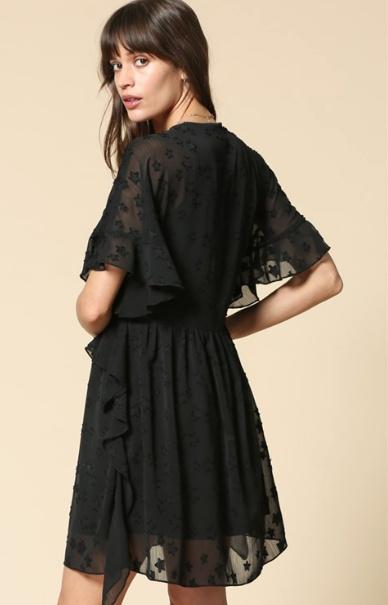 By Togeher Star Jaquard Print V Neck Bead Detail Boho Dress