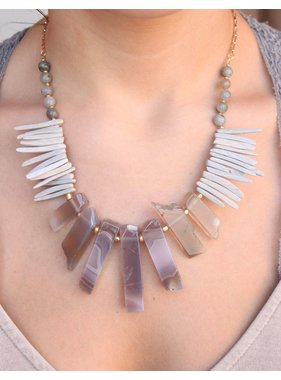 Caroline Hill Somali Natural Stone and Wood Statement Necklace