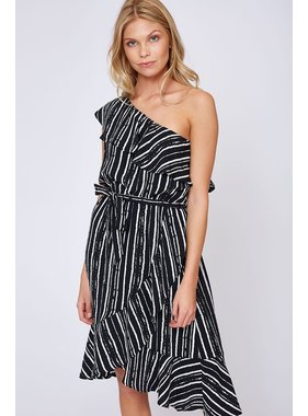 Peach Love California One Shoulder Stripe Print Woven Dress