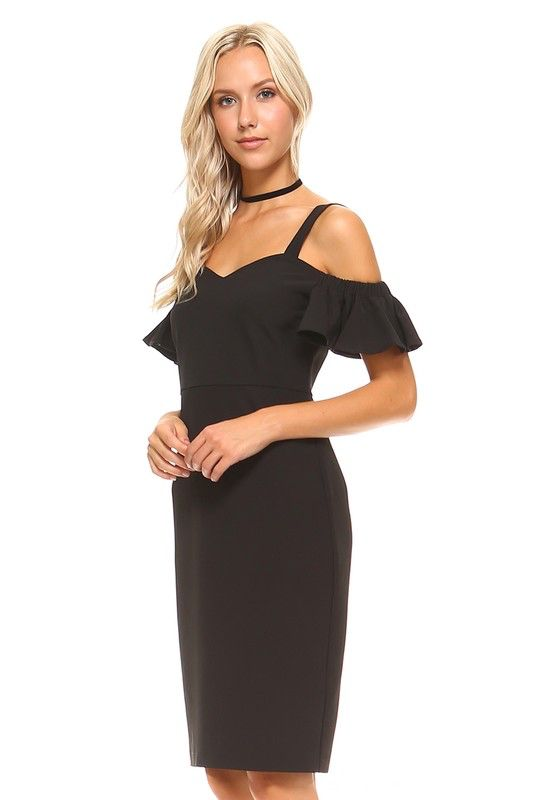 TCEC Ruffled Open Shoulder Dress