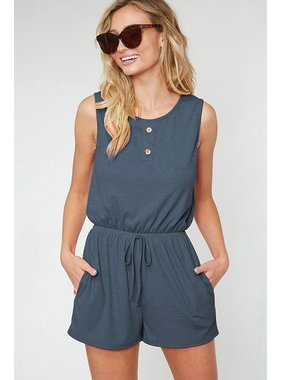 Fantastic Fawn Button Trim Romper