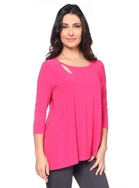 Last Tango 3/4 sleeve top with keyhole neckline
