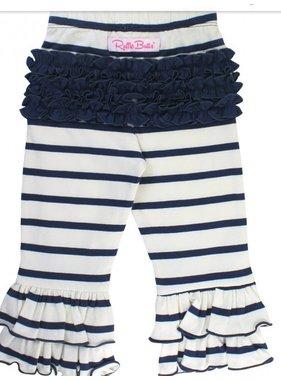 Ruffle Butts Navy & ivory stripe ruffle pants