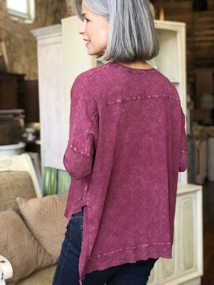 Jess & Jane Dolman Sleeve Mineral Washed Tunic