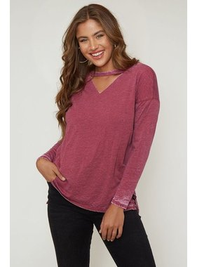 Peach Love California Mock neck knit top