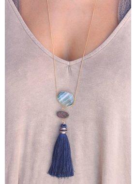 Caroline Hill Kestrel Druzy stone, natural stone, and fabric tassel drop necklace