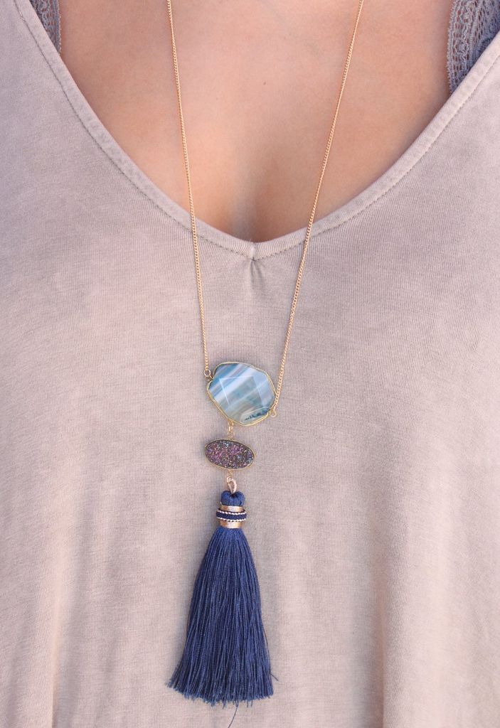 Caroline Hill Kestrel Druzy stone, natural stone, and fabric tassel drop necklace