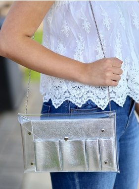Caroline Hill Touchdown clear crossbody with removable inner compartment