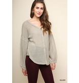 Umgee Long sleeve waffle knit button front v-neck top with scoop hem