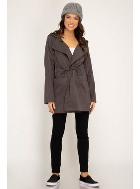 She + Sky Long roll up sleeve woven hooded parka with pockets