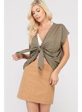 Wishlist, Inc. Short sleeve bow tie cropped tee