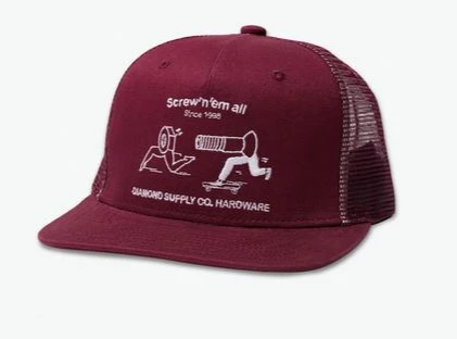 Diamond Supply Screw'n'em All Trucker Hat in Burgundy
