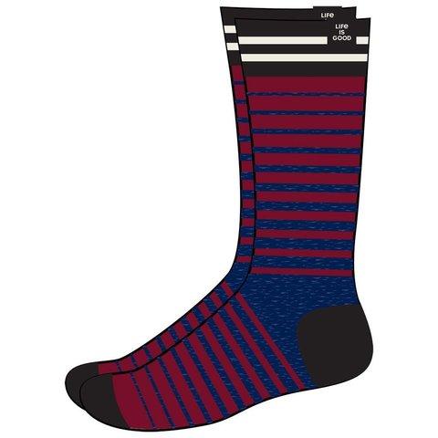 Men's Heavy Guage Crew Socks, Blue/Red Stripe
