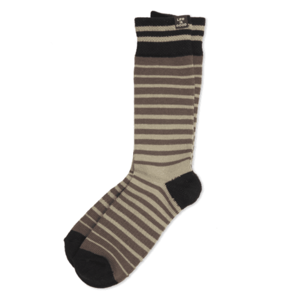 Life is Good Men's Heavy Guage Crew Socks, Green/Brown Stripe