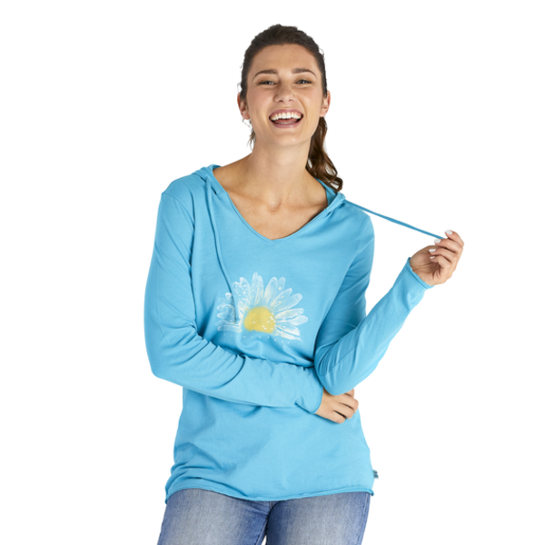 Life is Good Womens L/S Hooded Tee, Watercolour Daisy